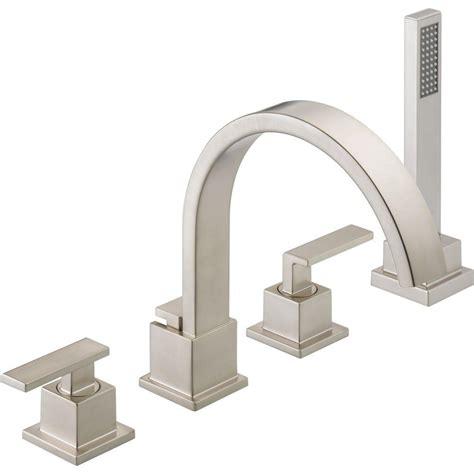 deck mount tub faucet delta vero 2 handle deck mount tub faucet with