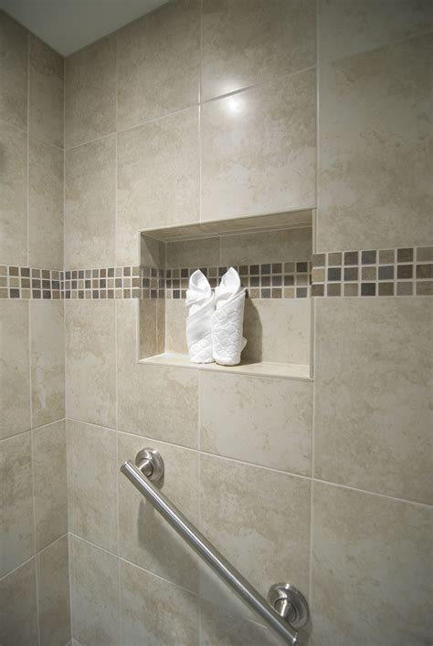 shower recessed area  walls  accented