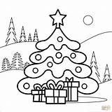 Coloring Tree Christmas Pages Printable Drawing Supercoloring Colorings Creative Categories sketch template