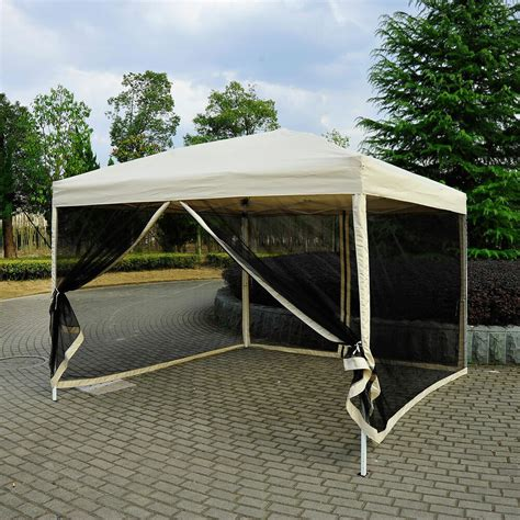 pop tent mesh screen gazebo popup canopy party patio shade tan ebay
