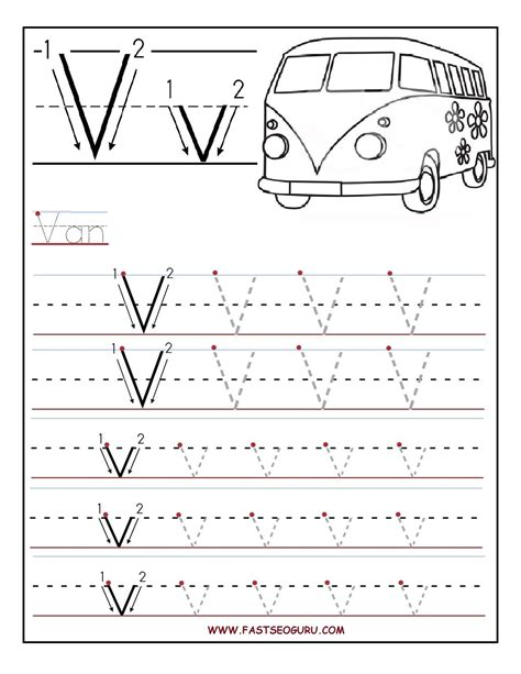 printable letter v tracing worksheets for preschool pre