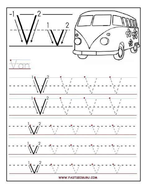 Printable Letter V Tracing Worksheets For Preschool