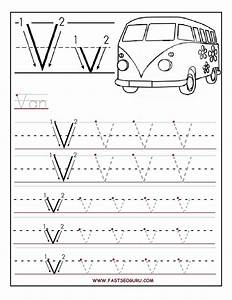 printable letter v tracing worksheets for preschool With preschool learning to write letters
