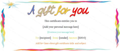 birthday certificate template colorful border gift certificate template