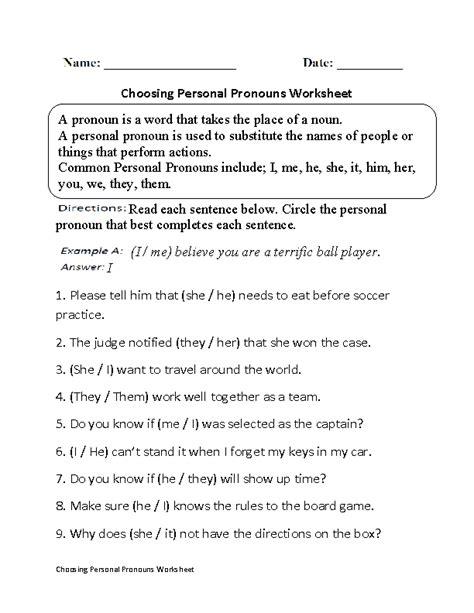 choosing personal pronouns worksheet part  beginner