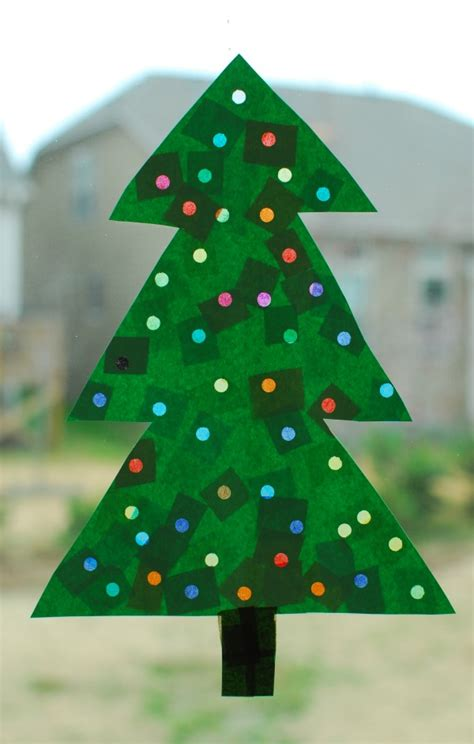 christmas tree with lights paper craft in lieu of preschool