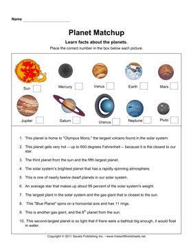 planet matchup solar system activities homeschool