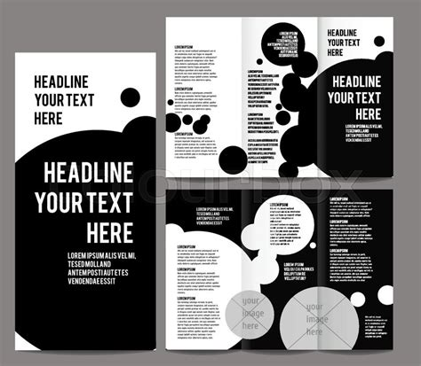 brochure design template vector trifold black  white