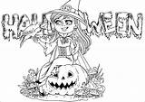 Halloween Coloring Witch Text Cute Background Pages Adult Crow Pumpkin Adults sketch template