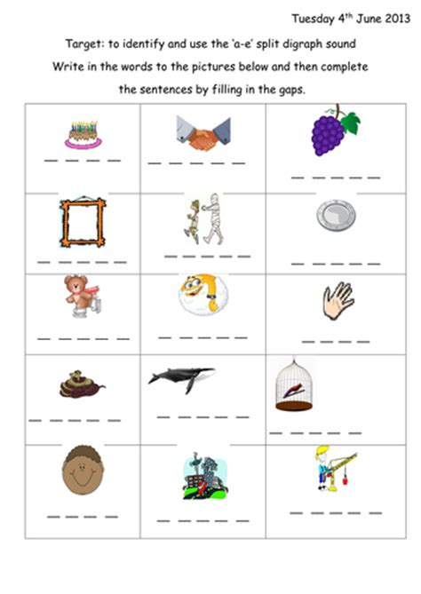 split digraph a e phonic worksheet presentation by
