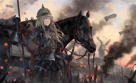wallpaper anime girl war horse military uniform spear