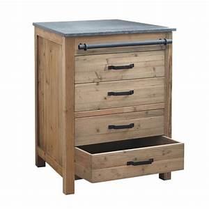 Meuble bas de cuisine en bois recycle l 70 cm pagnol for Meuble bas maison du monde 7 cuisine bois recycle avec plateau en pierre bleue