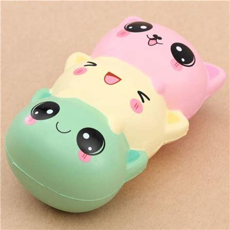 cute green light yellow pink cat squishy kawaii cheap