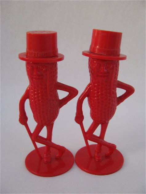 Mr. Peanut vintage red plastic S&P shakers, Planters