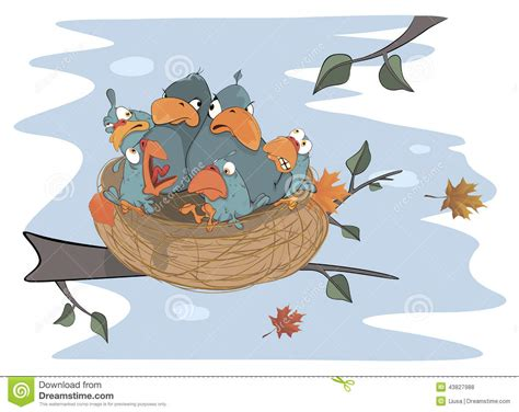 Birds With Her Four Babies In The Nest Cartoon Stock
