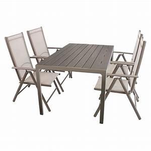 Günstige Gartenmöbel Set : 5tlg gartenm bel set sitzgruppe aluminium polywood non wood gartentisch 150x90cm 4x ~ Frokenaadalensverden.com Haus und Dekorationen