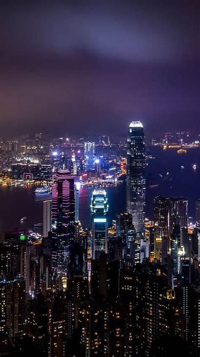Night Lights China Hong Kong Skyscrapers Background