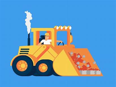 Bulldozer Construction Dozer Steamroller Dribbble Jcb Vehicle