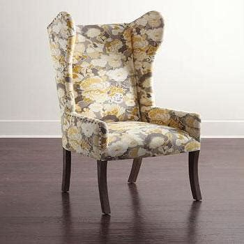 yellow floral tufted yellow  gray lydia dining chair
