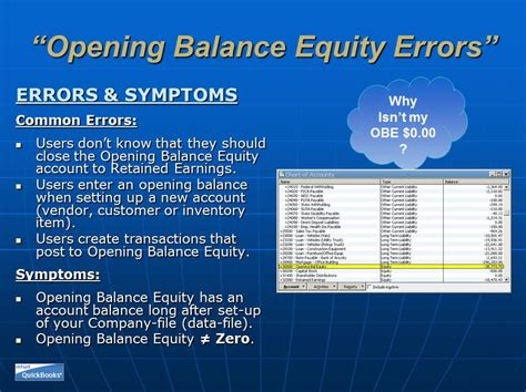 problems opening balance equity