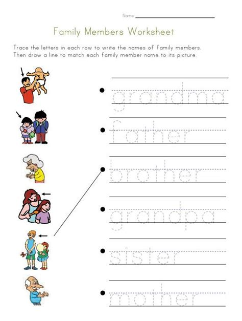 family members worksheet ingles  preescolar fichas