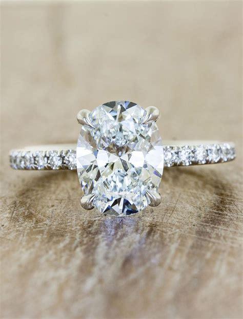 oval engagement ring pave band ken design