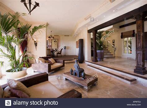 Modern Spanish villa living room at dusk Stock Photo