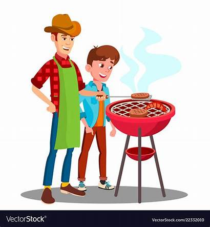 Cooking Son Father Grill Bbqing Baking Barbecue