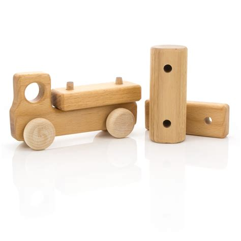 wooden toys leo bella milton asbhy gift boxed wooden toy truck natural