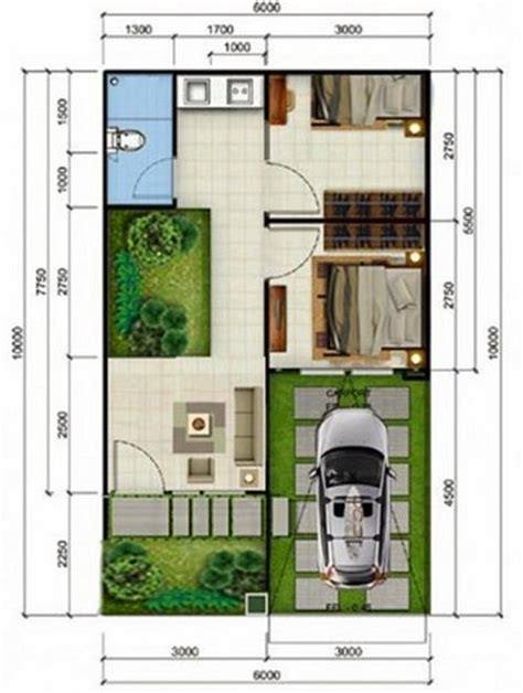insprirasi desain denah rumah minimalis 2 kamar tidur