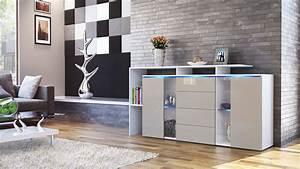Tv Sideboard Weiß : sideboard tv board anrichte kommode lissabon wei in hochglanz naturt nen ebay ~ Markanthonyermac.com Haus und Dekorationen