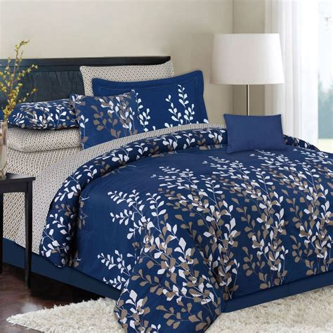 king or queen 10 piece navy blue bed in a bag comforter