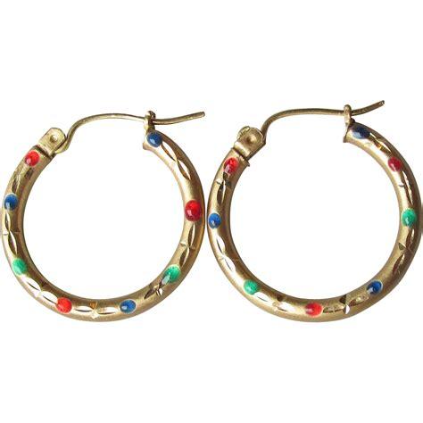 vintage 10k gold enamel hoop earrings sold on ruby lane