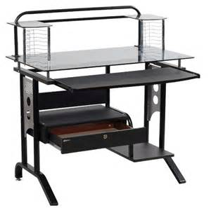 2014 latest models 90cm glass computer desk with drawers