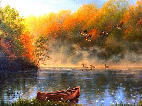 lakes smoke lake autumn lakes paintings colors