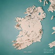 Republic of Ireland Country 3D Render Topographic Map ...