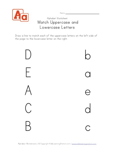 Match Uppercase To Lowercase  Letters A, B, C, D And E  Kids Learning Station
