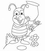 Coloring Bug Printable Insects Bee Ones Ant sketch template
