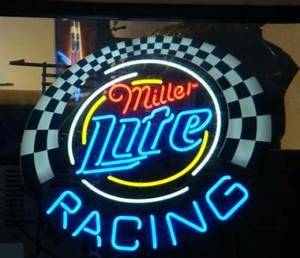MILLER LITE RACING NASCAR NEON LIGHT SIGN