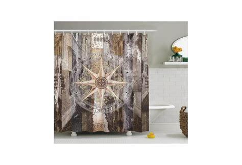 rustic wood  copass nautical theme shower curtain