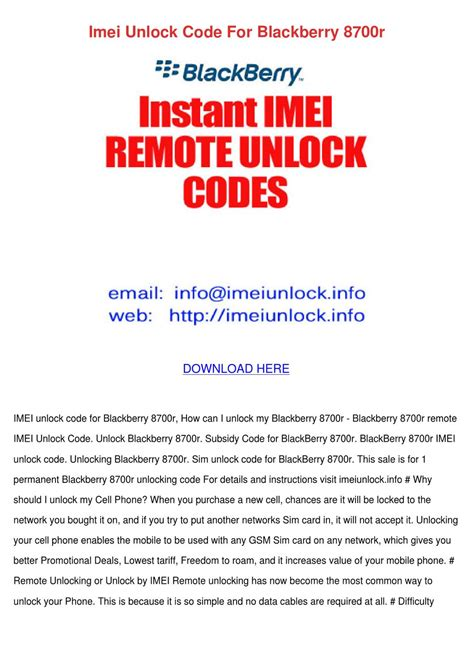 Byop eligibility rules all contractual and financial obligations must be met with your current provider before a phone can be eligible. Imei Unlock Code For Blackberry 8700r by Sherika Blanchfield - Issuu