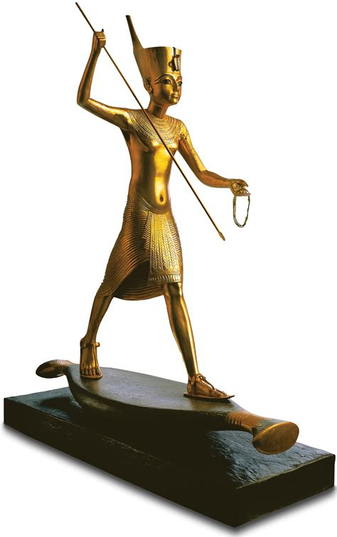 Sculpture 'Tutankhamun with Harpoon', gold-plated by hand ...