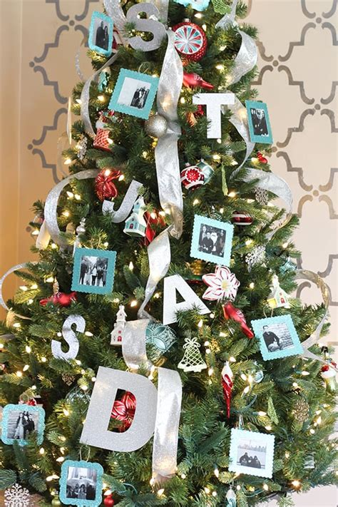 picture frame christmas tree ornaments aqua and personalized tree with diy photo ornaments no 2 pencil