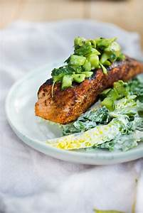Grilled Salmon Salad w/ Avocado Salsa | Feasting At Home