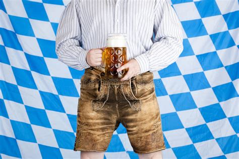 hose enger machen with oktoberfest leather trousers stock photo image