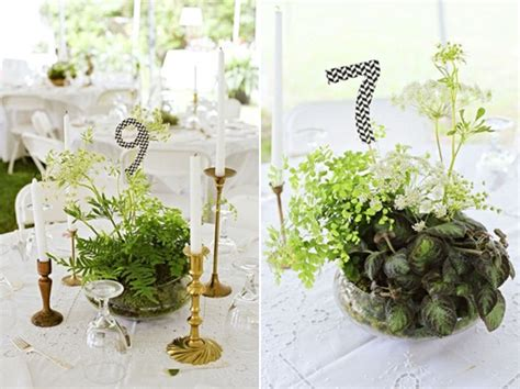 Inspiration For Natural Living Wedding Table Centrepieces