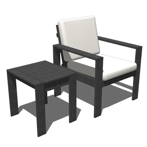 outdoor chair and sidetable 3d model formfonts 3d models