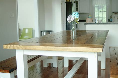 diy farmhouse table  bench   plans  ana white