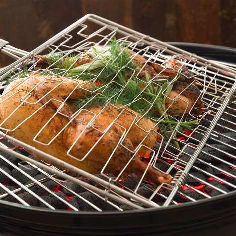 steven raichlen stainless steel expandable grill basket cutlery