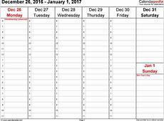 Weekly Calendar 2017 weekly calendar template